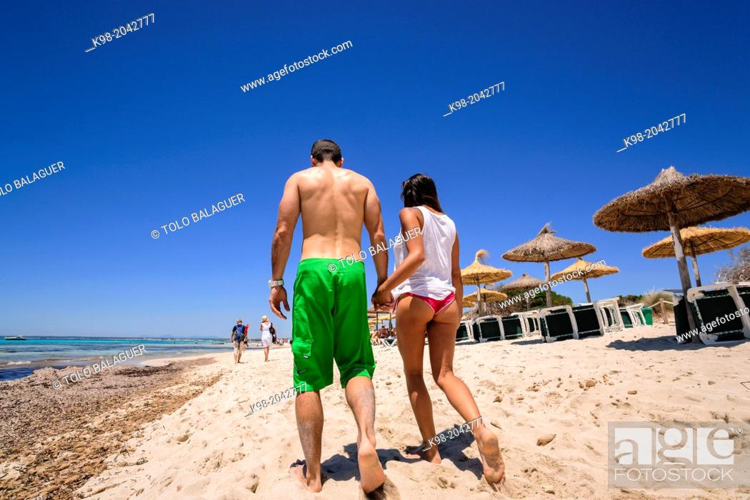 Stock Photo: couple walking on the beach, beach Es Trenc. Mallorca. Balearic Islands. Spain.