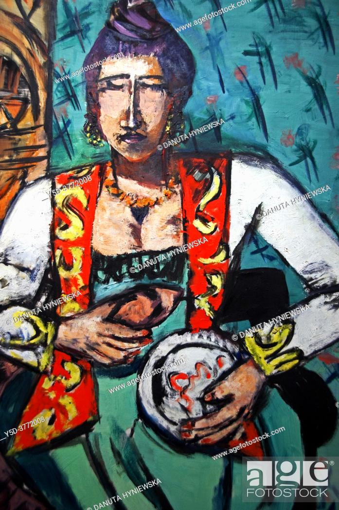 Stock Photo: Fondation Pierre Gianadda, Martigny, Switzerland, oil painting by German painter Max Beckmann (1884-1950), Frau mit schlange - Woman with snake, 1940.