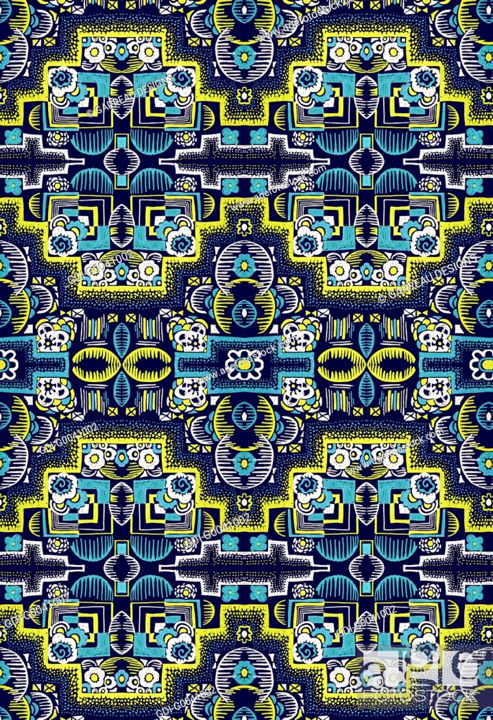 Imagen: Intricate navy and yellow design.