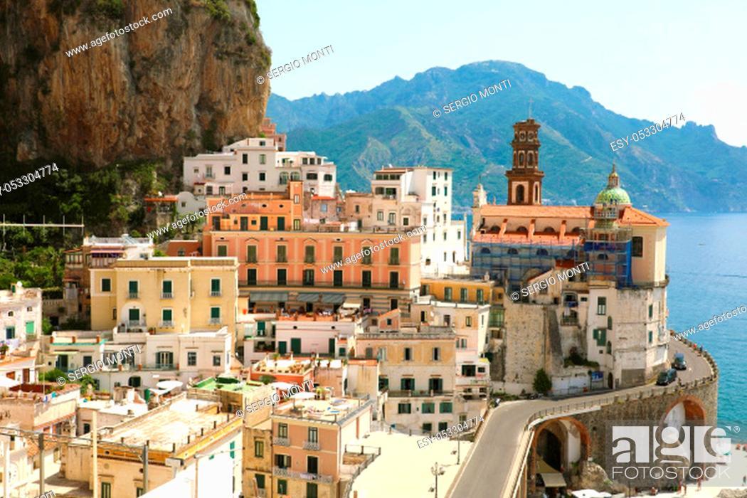 Stock Photo: Atrani stunning village overhanging the sea in Amalfi Coast, Italy.