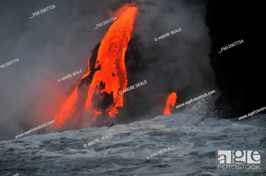 Stock Photo: Lava from Kilauea Volcano flowing into the ocean, Hawaii Volcanoes National Park, Big Island, Hawaii, USA.