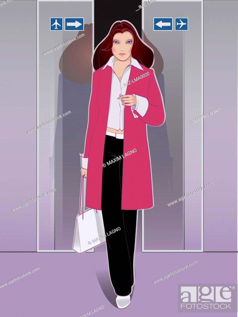 Stock Photo: A woman leaving the airport.