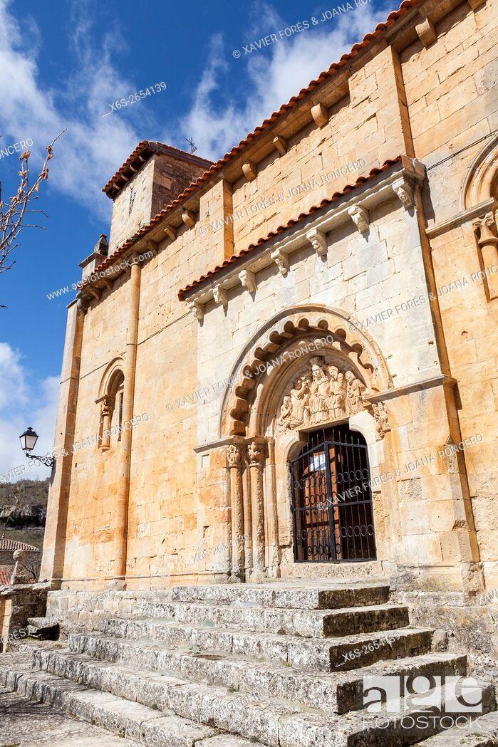 Stock Photo: San Pedro y San Pablo church in Gredilla de Sedano village, Paramos region, Burgos, Spain.