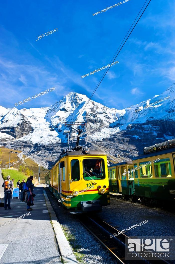 Stock Photo: Jungfrau Railway train station at Wengernalp, Swiss Alps, Canton Bern, Switzerland.