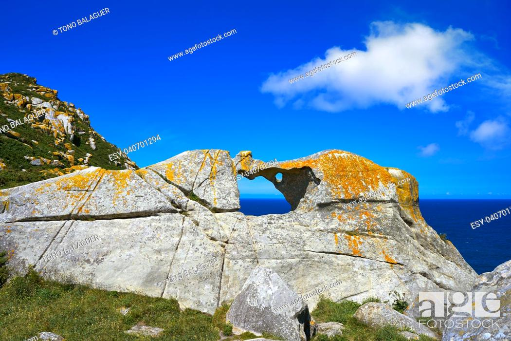 Stock Photo: Pedra da Campa stone hole in Islas Cies islands at Vigo Spain.