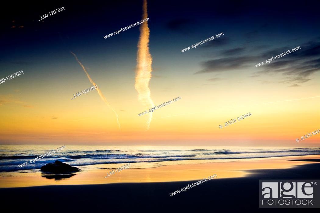 Stock Photo: Sunrise in Las Catedrales beach  Ribadeo  Lugo province  Galicia  Spain.