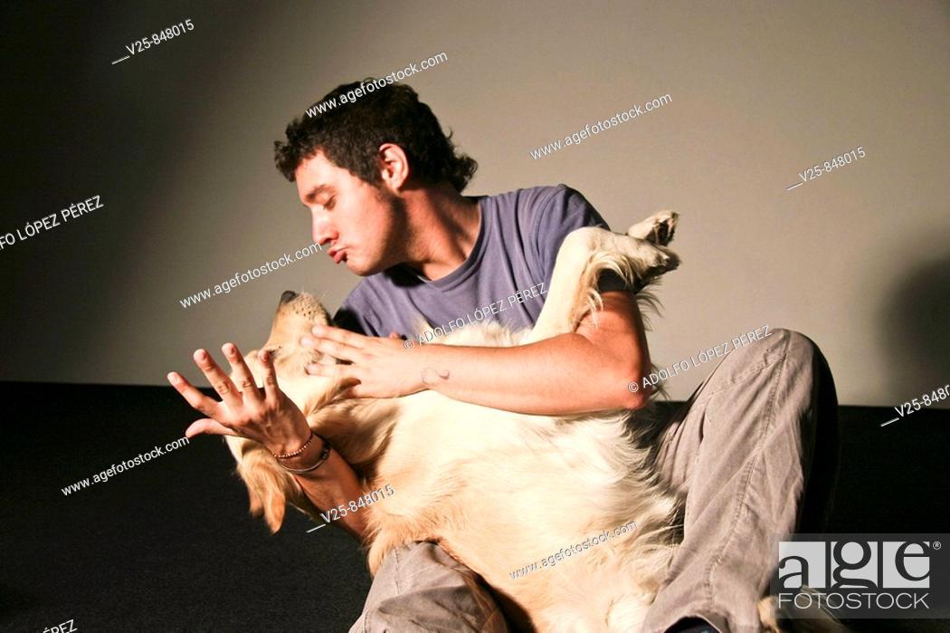 Stock Photo: Man with dog.