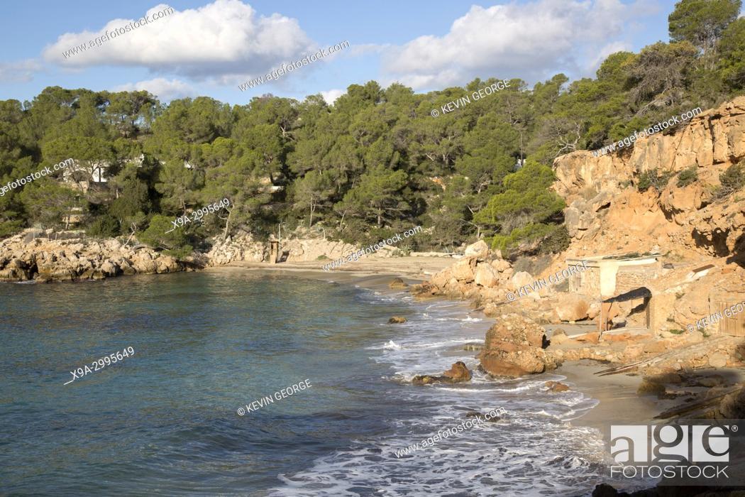 Stock Photo: Cala Saladeta Cove Beach; Ibiza; Spain.