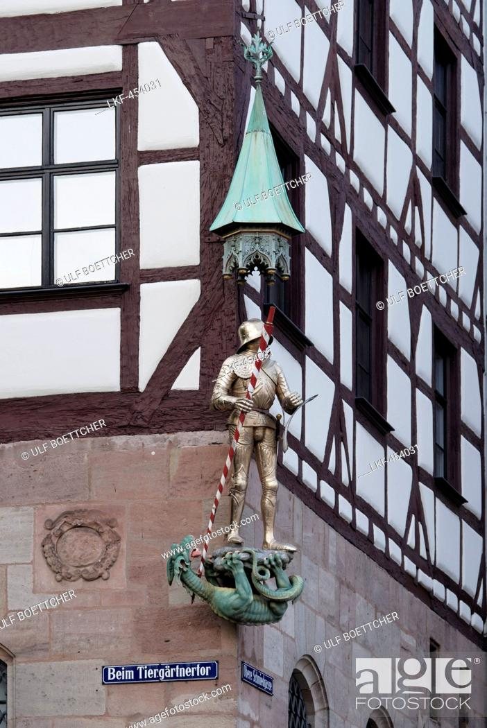 Stock Photo: Close up of Pilatus House, Tiergaertnertorplatz, Nuremberg, Middle Franconia, Bavaria, Germany.