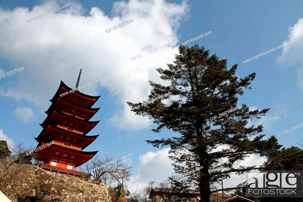 Stock Photo: Five story pagoda of Itsukushima Shrine in Japan.