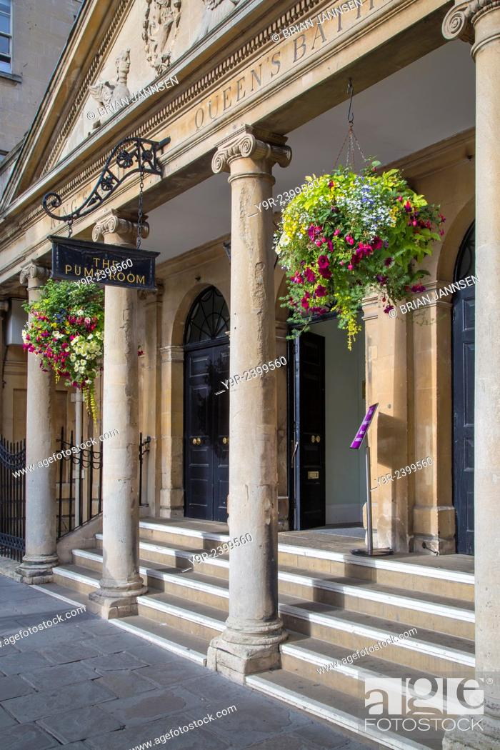 2f95a9e4f407 Stock Photo - Front entrance to the historic Pump Room Restaurant, Bath,  Somerset, England, UK.