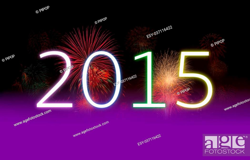 Stock Photo: New year concept, celebrations concept with real fireworks.