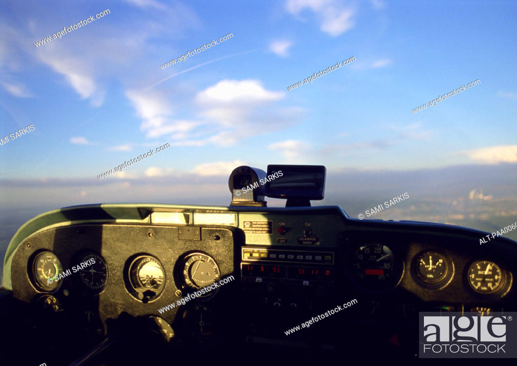 Stock Photo: Inside of cockpit during flight.