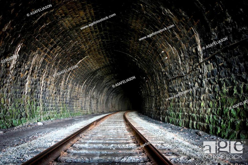 Stock Photo: a railway tunnel in Siberia, Russia.
