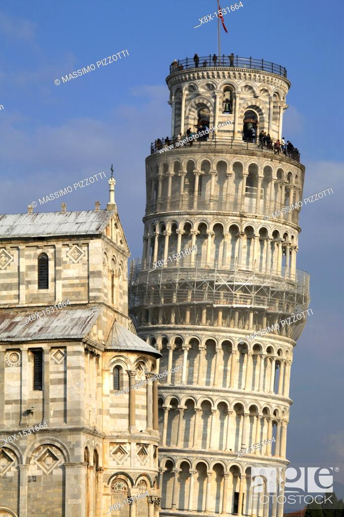 Stock Photo: The leaning tower and the cathedral in Piazza dei Miracoli, Pisa, Italy.