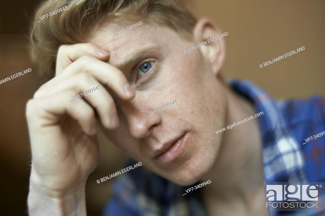 Stock Photo: apprehensive man.