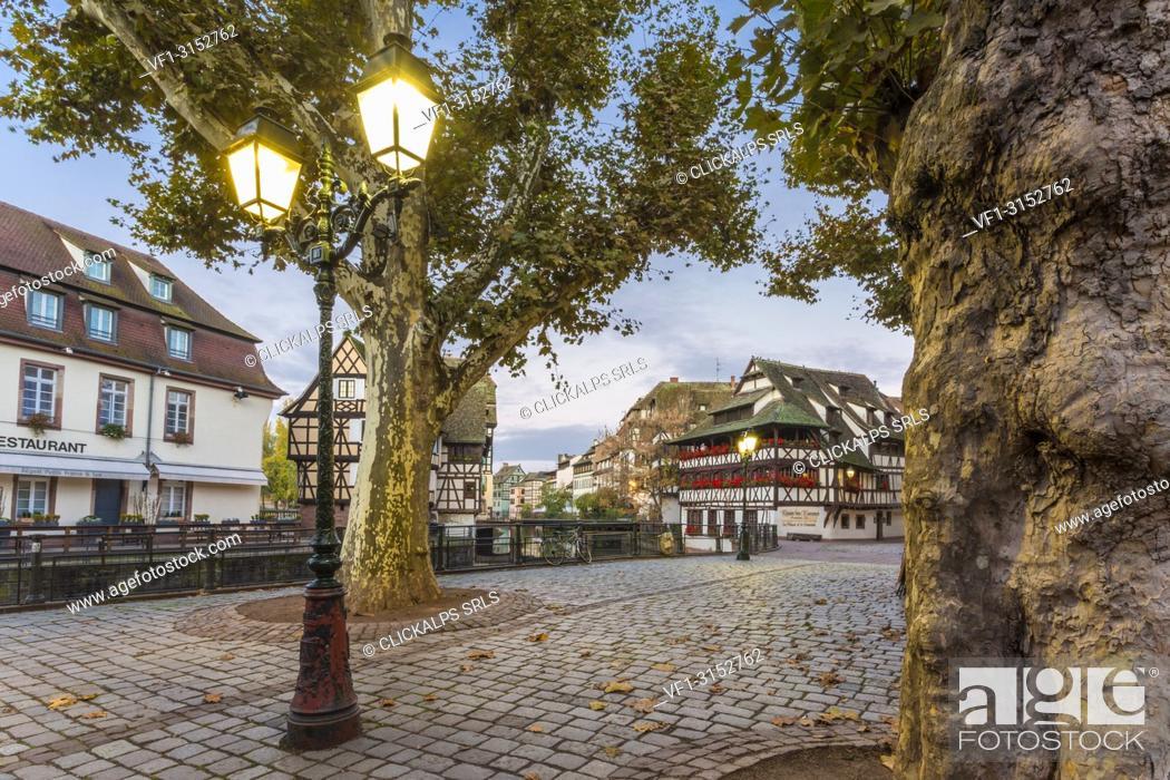 Stock Photo: A street of Strasbourg at dawn, Alsace, Grand Est region, Bas-Rhin, France.