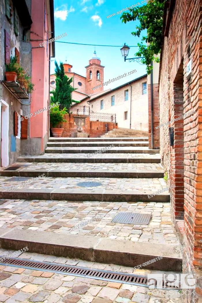 Stock Photo: Alley in the village of Santarcangelo, Italy.