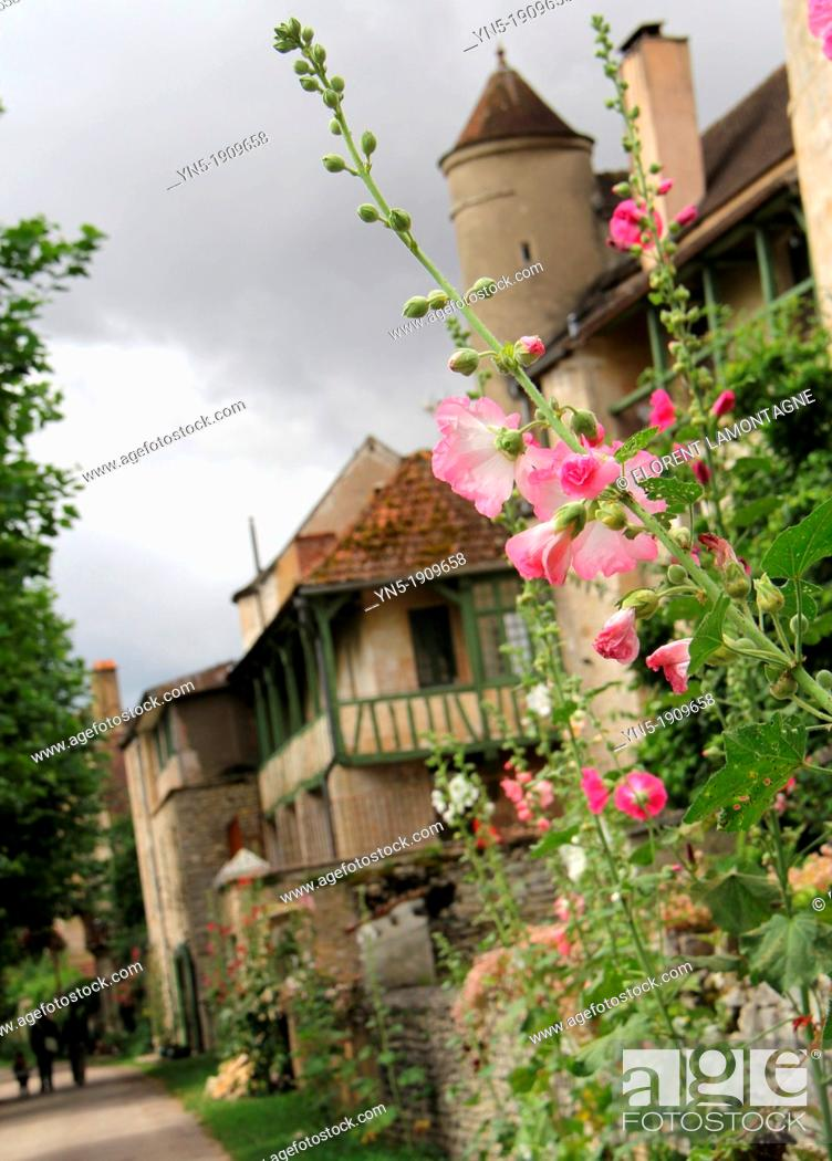 Stock Photo: Tonw of France, Burgundy, Yonne, Noyers sur Serein and its medieval atmosphere with old half-timbered houses.