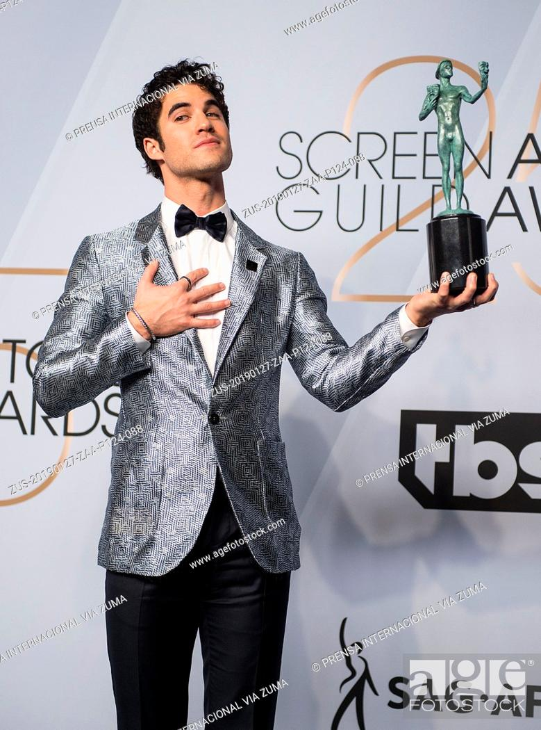 Stock Photo: January 27, 2019 - Los Angeles, California, United States of America - Darren Criss poses in the press room with award for Outstanding Performance by a Male.