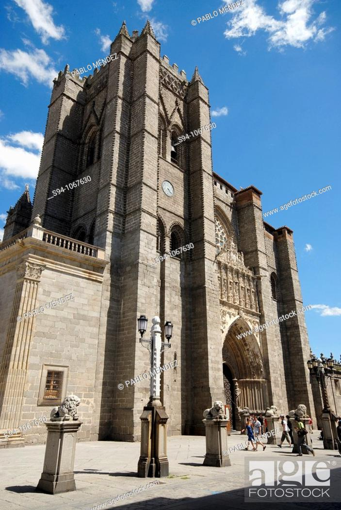Stock Photo: Romanesque Cathedral of San Salvador de Avila, Spain.