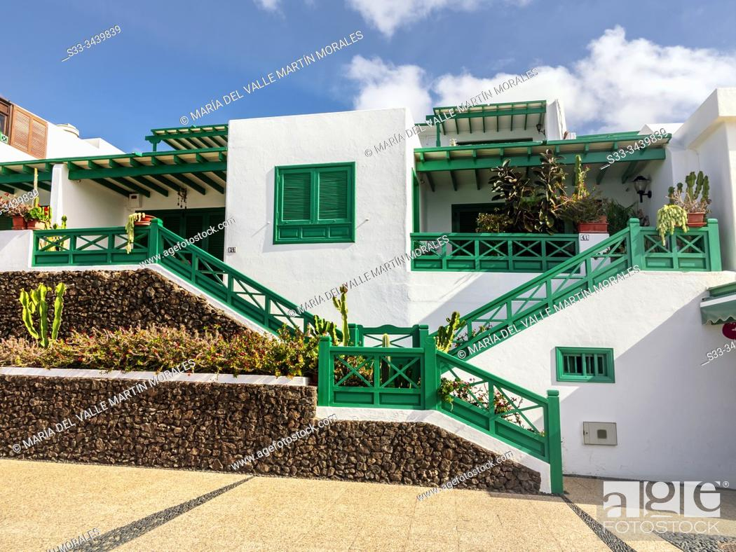 Stock Photo: Apartments in White Beach. Lanzarote. Canary Islands. Spain. Europe.