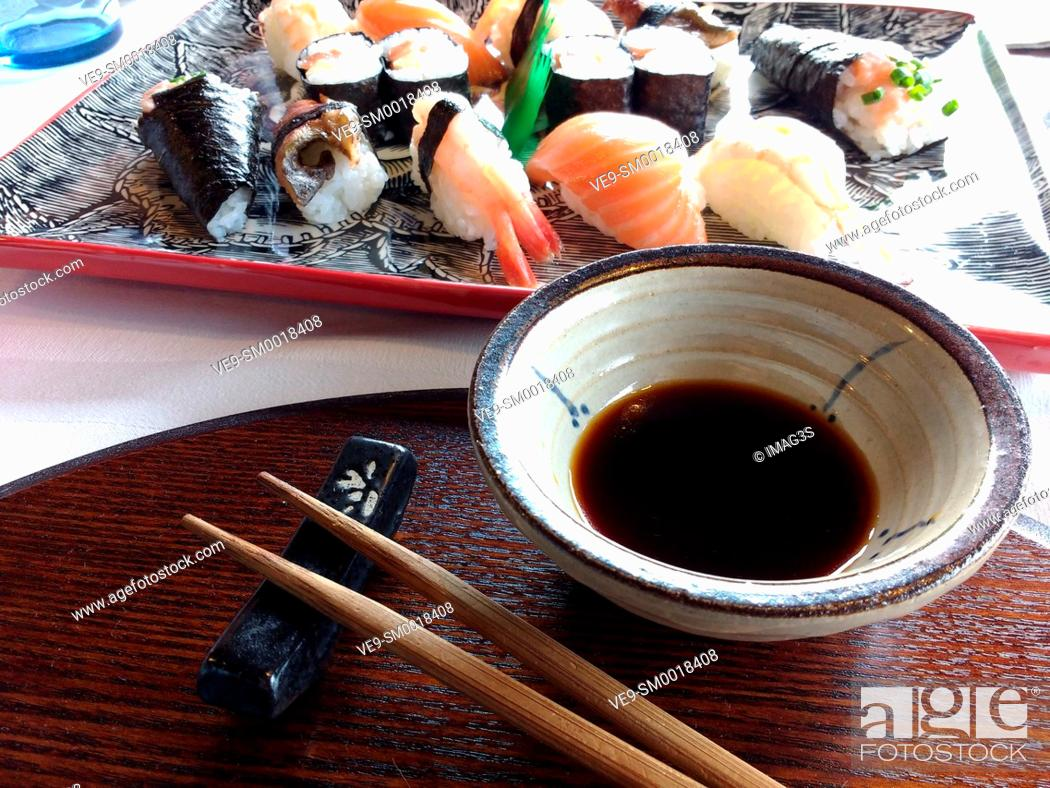 Stock Photo: Nigiri-sushi and maki-sushi and soy sauce, Amada Carlota Japanese Restaurant, La Cotariella, Cabranes, Asturias, Spain.