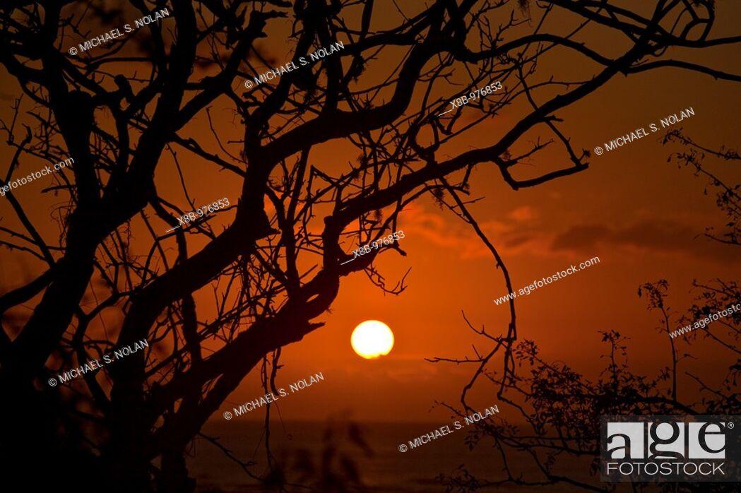 Stock Photo: Sunset in the Galapagos Island Archipelago, Ecuador  Pacific Ocean.