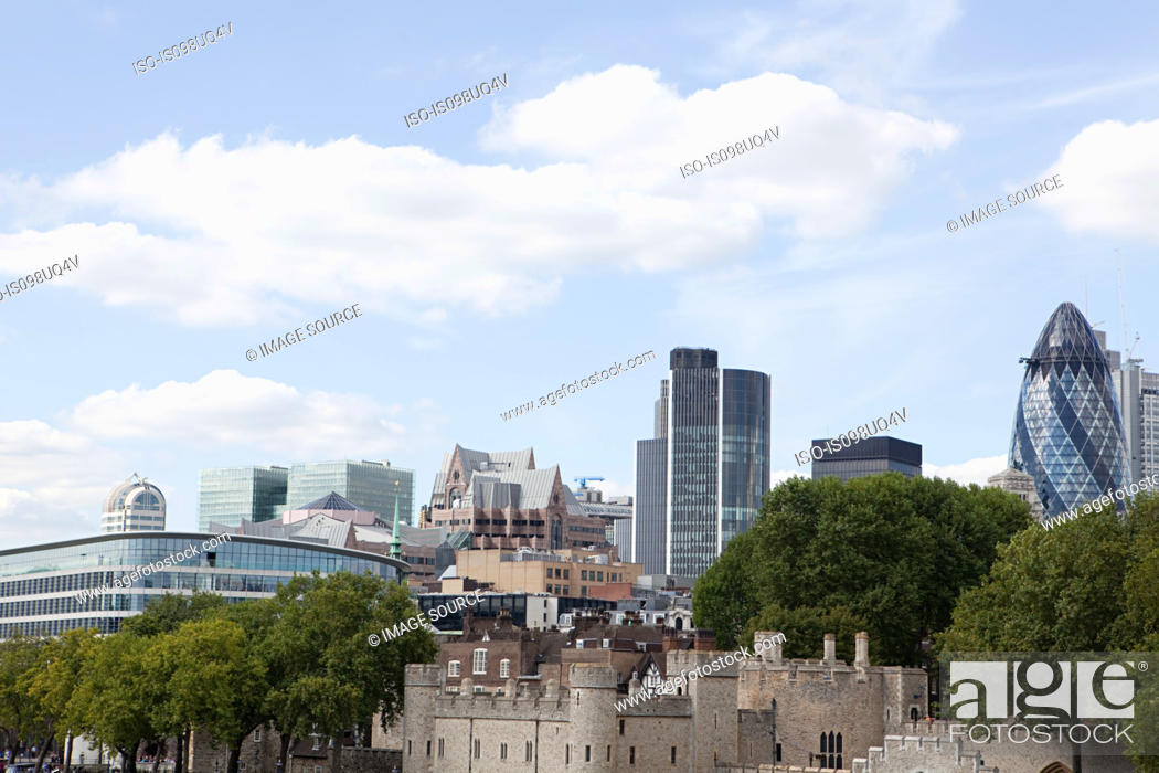 Stock Photo: City and Tower of London.