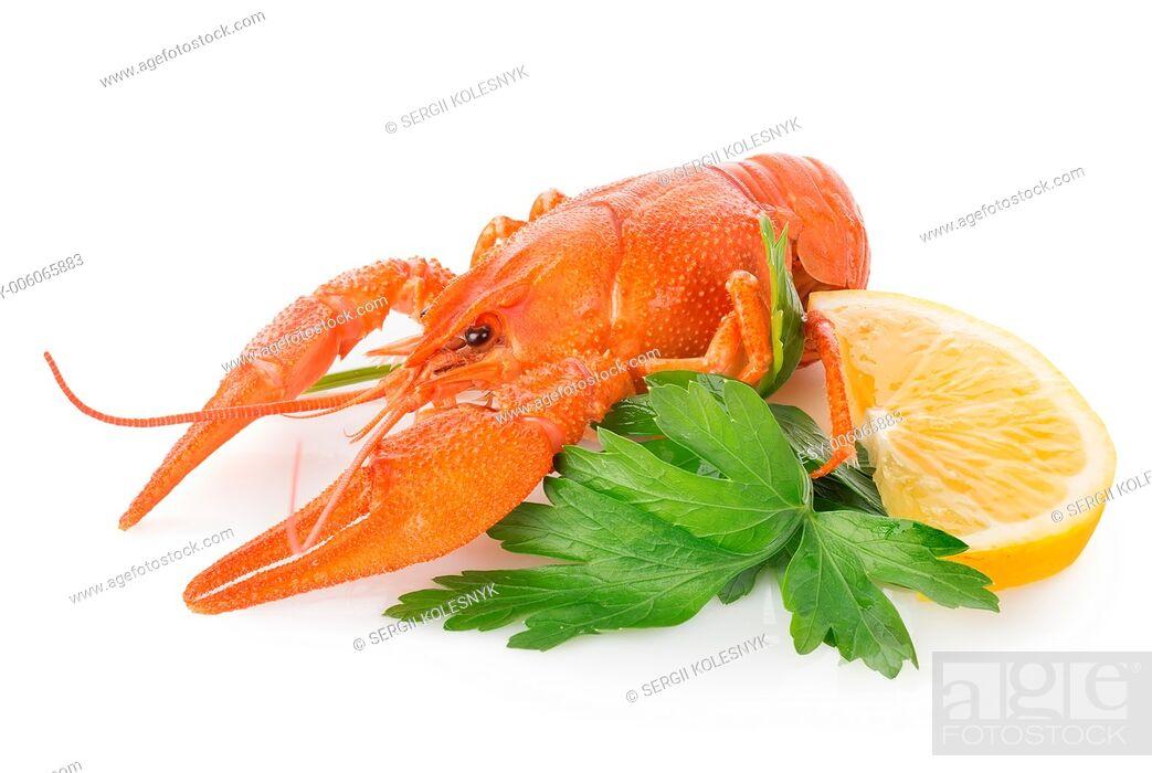 Stock Photo: Crawfish and lemon isolated on a white background.