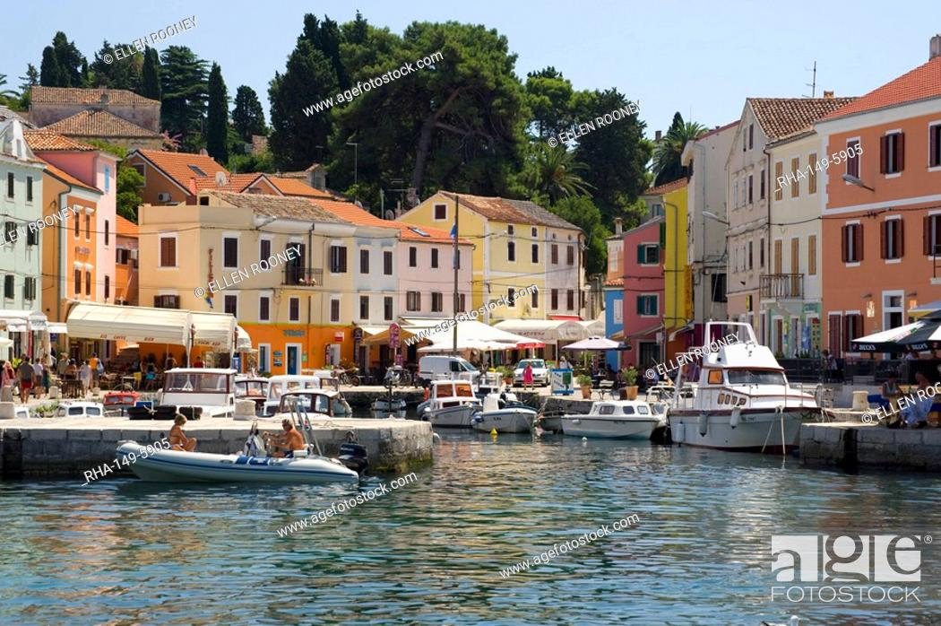 Stock Photo: The colourful harbour in Veli Losinj, island of Losinj in the Kvarner region, Croatia, Adriatic, Europe.