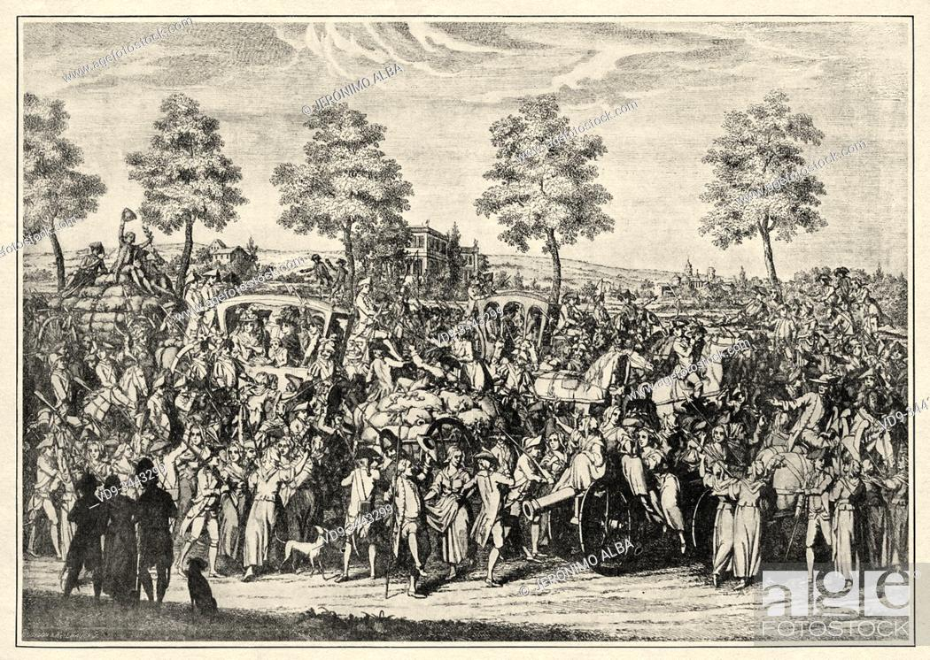Stock Photo: The return of the king Louis XVI and the royal family to Paris. French Revolution 18th century. History of France, old engraved illustration image from the book.