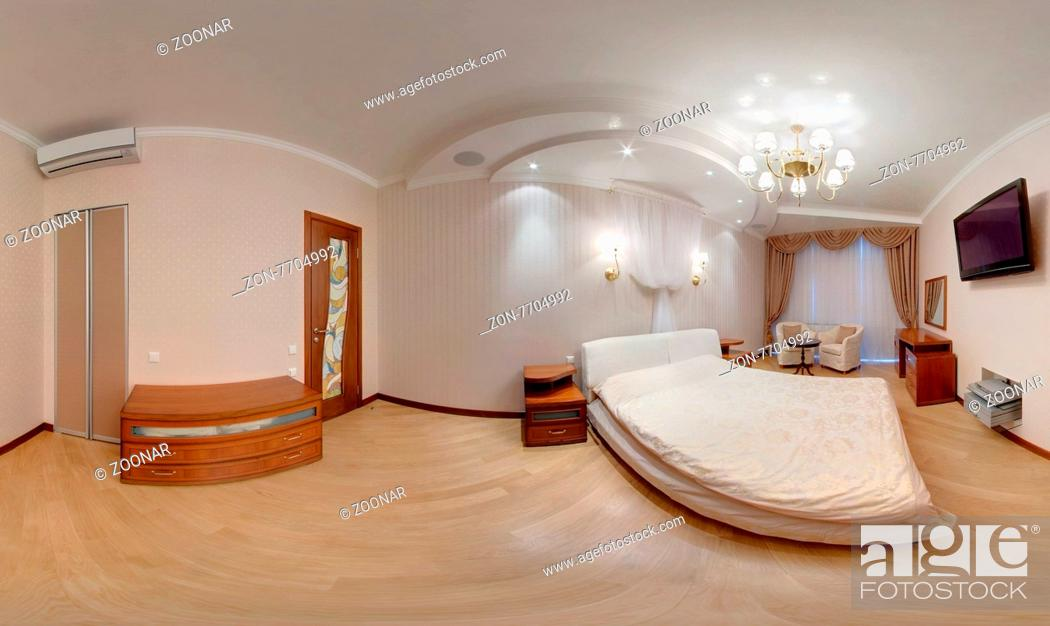Stock Photo Panarama Of A Modern Bedroom With Turned On Lights