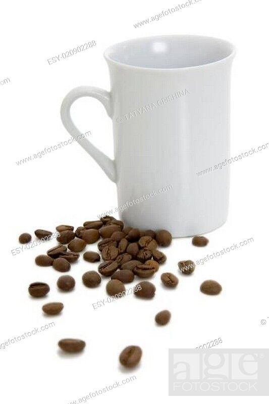 Stock Photo: Cup and coffee grains.