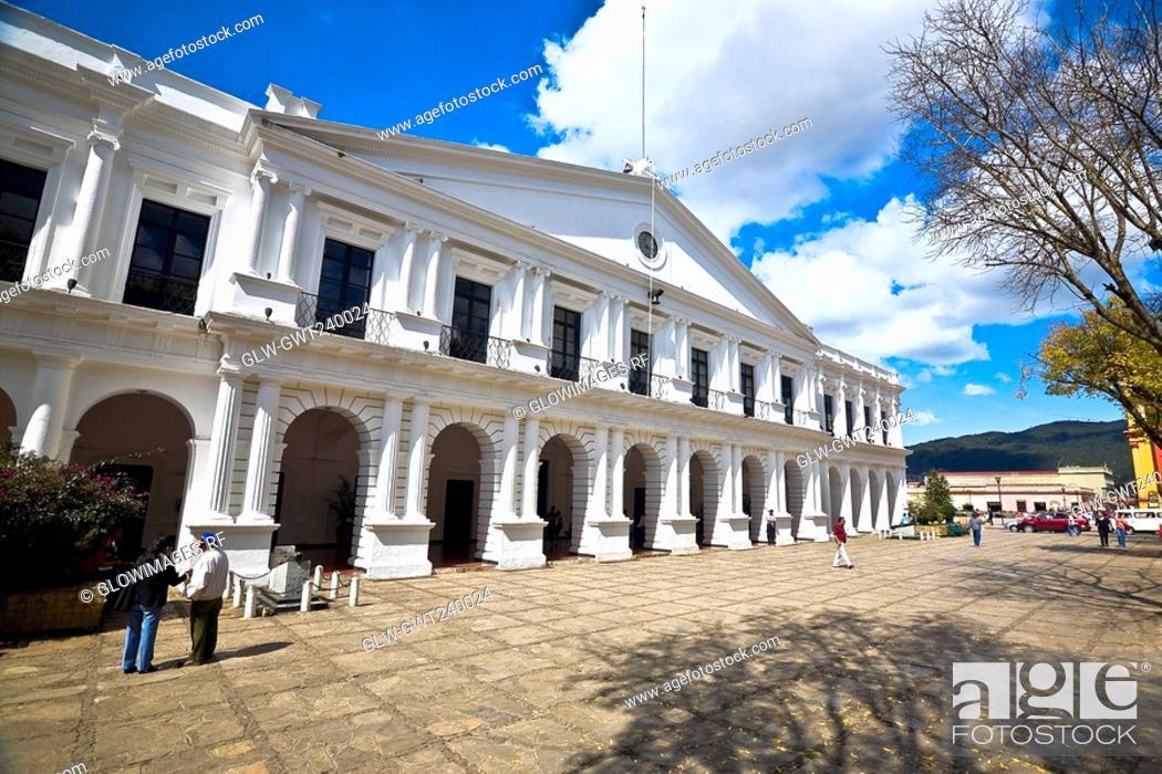 Stock Photo: Facade of a city hall, San Cristobal De Las Casas, Chiapas, Mexico.