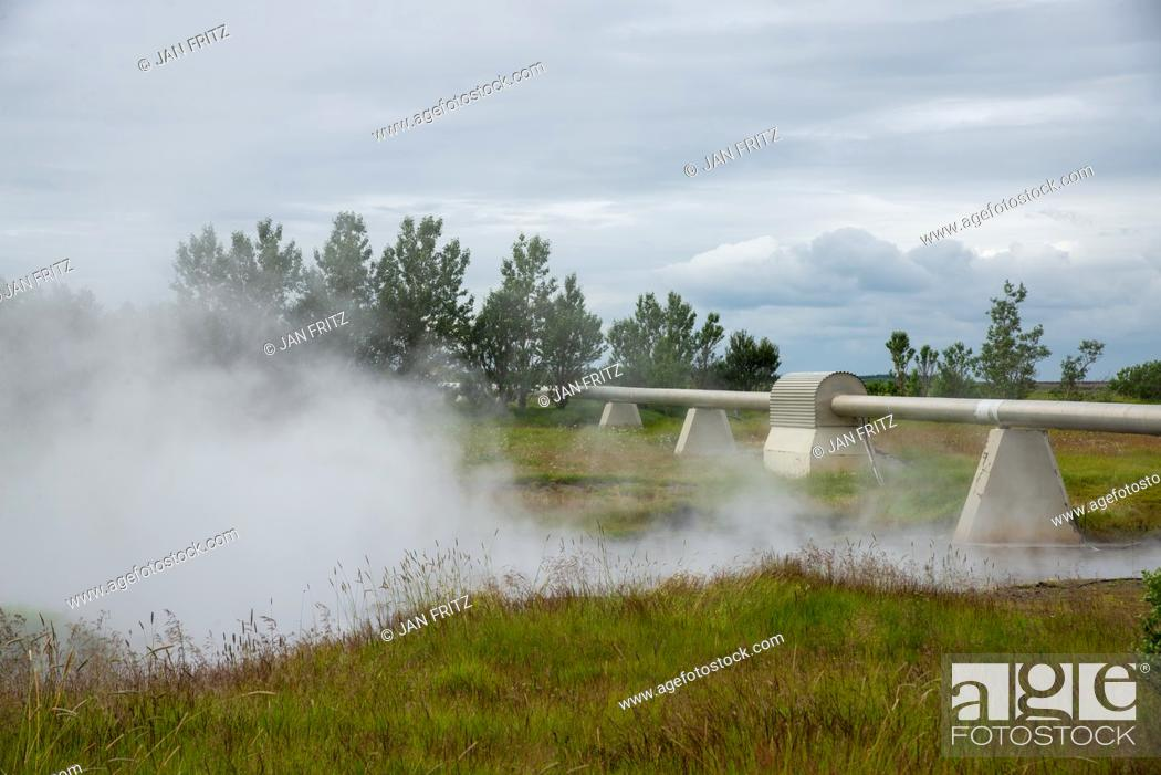 Photo de stock: hot water pipelines at Deildartunguhver at Iceland.