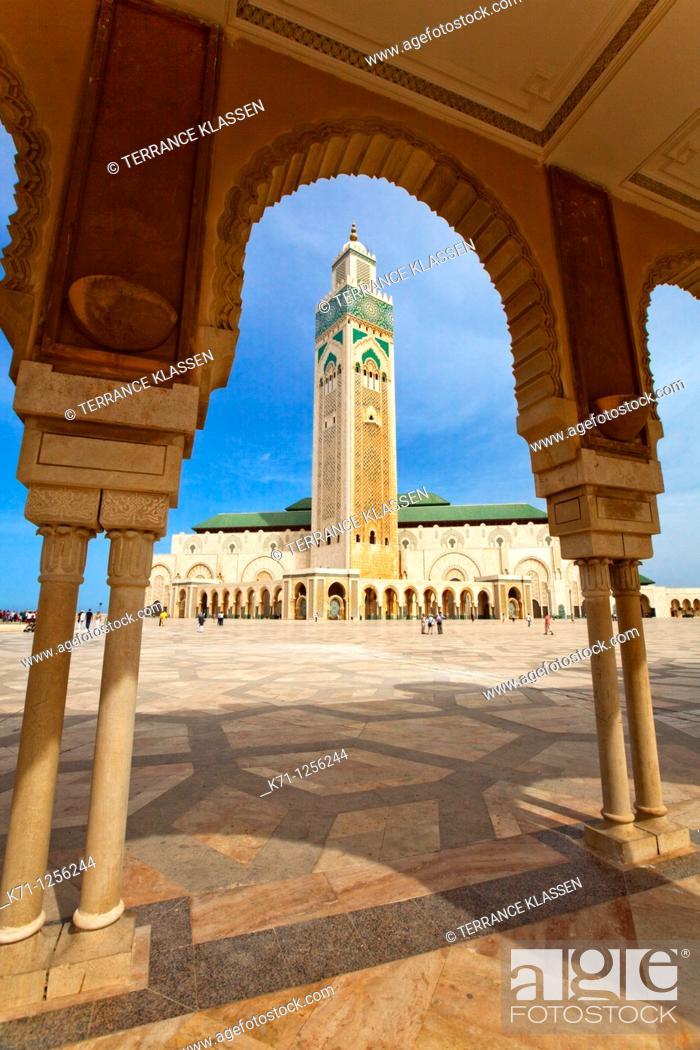 Stock Photo: Exterior of the Hassan II mosque in Casablanca, Morocco.