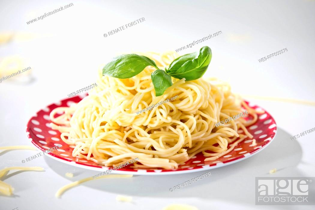 Stock Photo: Germany, Plate of spaghetti with basil, close-up.