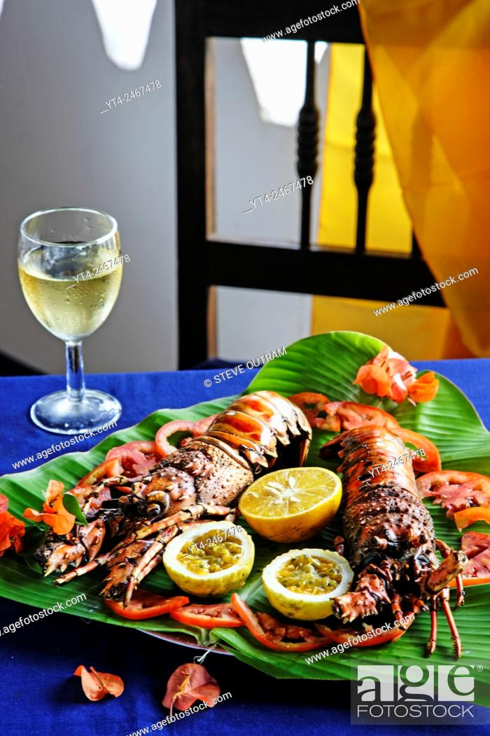 Stock Photo: Grilled Lobster, Chapwani Island. Zanzibar, Tanzania.