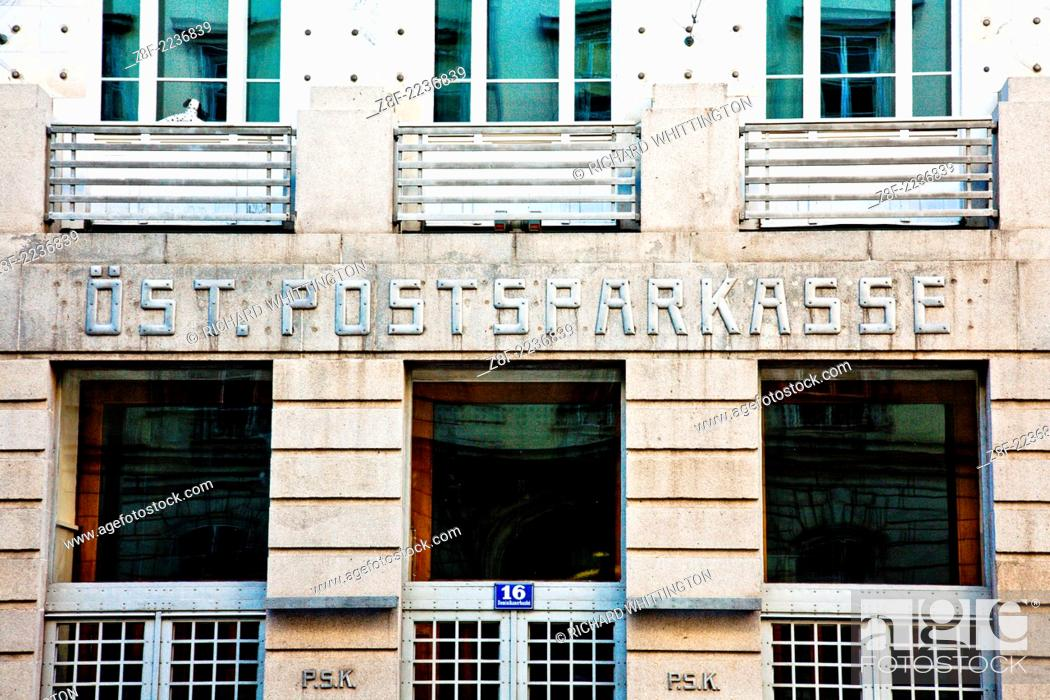 Stock Photo: Viennese Secession architect Otto Wagner's 1901 Post Office Savings Bank (Österreichische Postsparkasse) roof detail. The massive eight story building takes up.