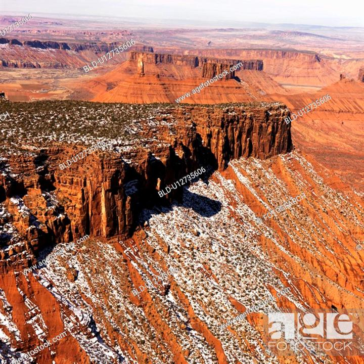 Stock Photo: Aerial landscape of mesas in Canyonlands National Park, Moab, Utah, United States.