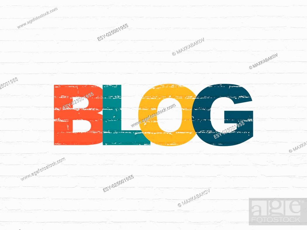Stock Photo: Web development concept: Painted multicolor text Blog on White Brick wall background, 3d render.