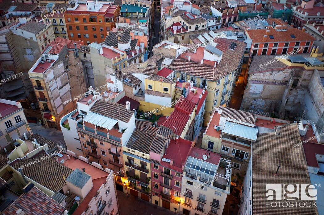 Stock Photo: Barrio del Carmen, Valencia city from El Miguelete tower, Valencia, city, Valencia, Spain.