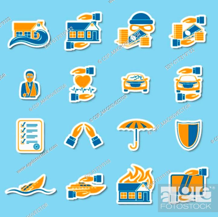 Stock Vector: Insurance security stickers collection.