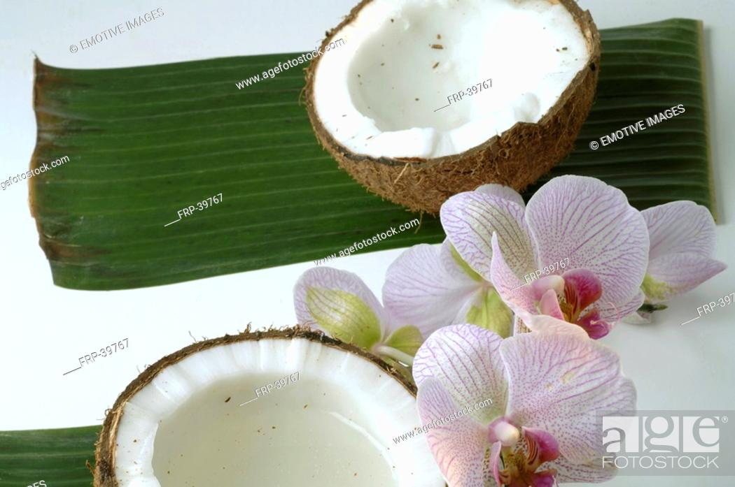 Stock Photo: Sliced coconut and a orchid blossom.