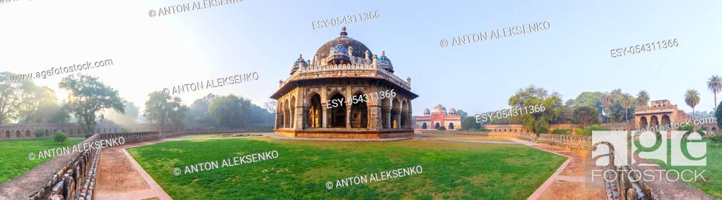 Stock Photo: Panorama of Isa Khan's Tomb near the Humayun's Tomb in New Delhi, India.