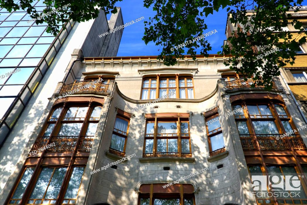 Stock Photo: front facadel - Art Nouveau Solvay Hotel by Victor Horta, together with three other town houses of Victor Horta, including Horta's own house and atelier.