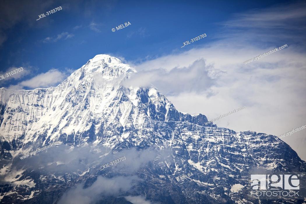 Stock Photo: Annapurna South from Ghandruk. Annapurna trek. Nepal.