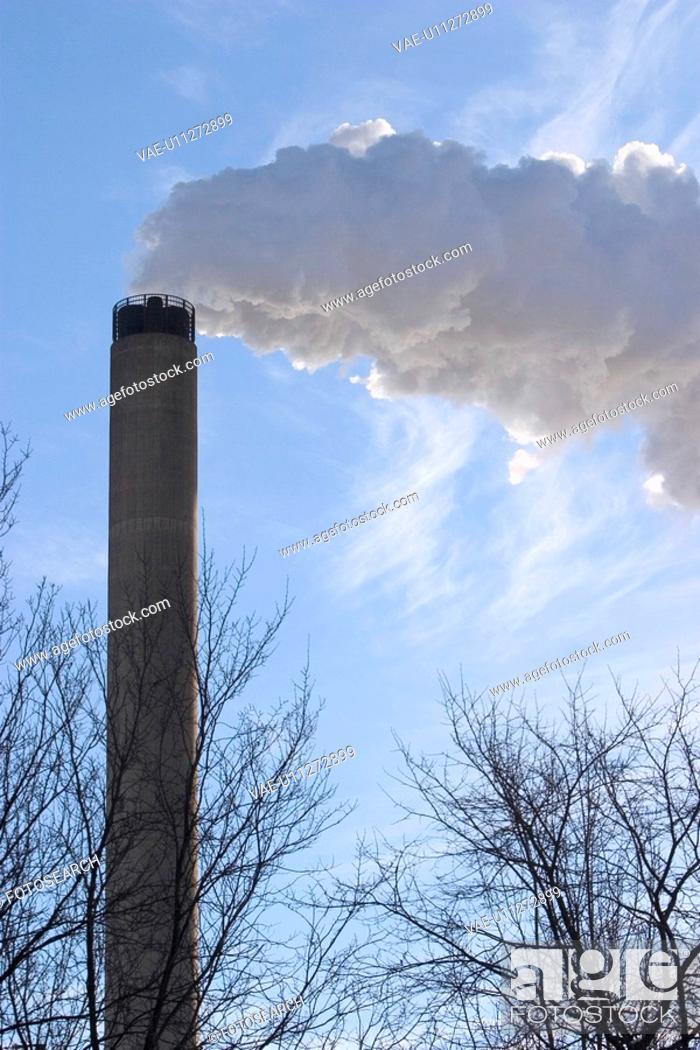 Stock Photo: pollute, acid, rain, environmental, chimney, polluting.