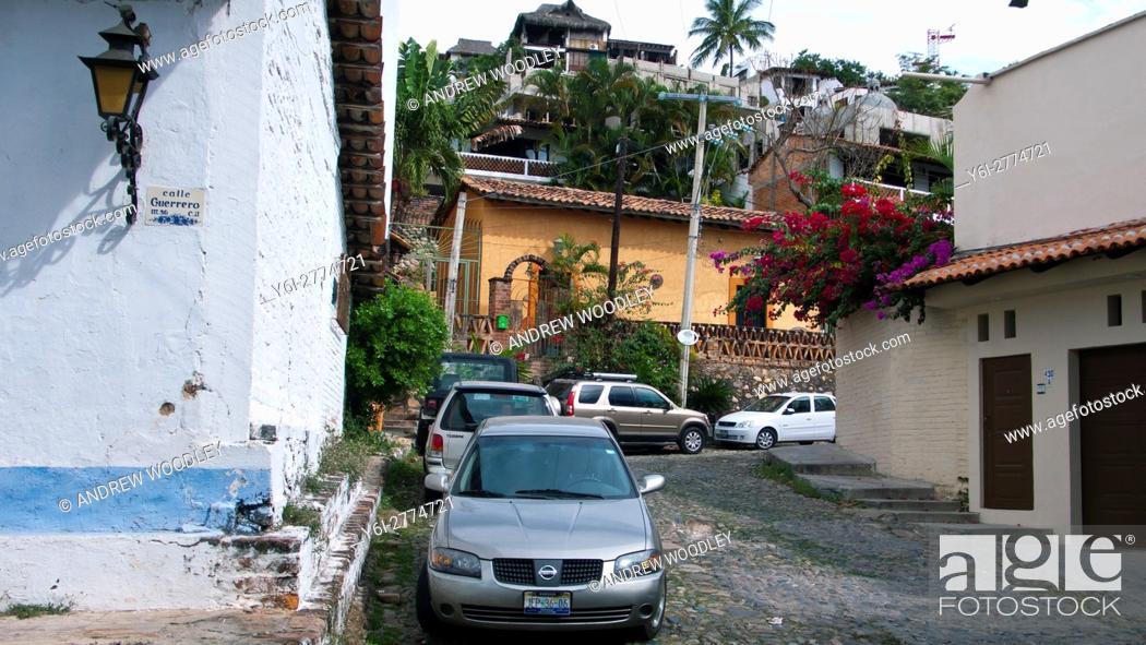 Stock Photo: Back streets of Puerto Vallarta Mexico.